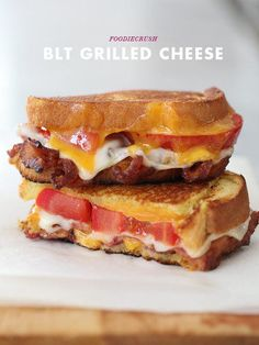 The Stir-BLT Grilled Cheese Sandwich Recipe Is the Best Thing to Ever Happen to . - The Stir-BLT Grilled Cheese Sandwich Recipe Is the Best Thing to Ever Happen to Bacon - Grill Cheese Sandwich Recipes, Grilled Cheese Recipes, Soup And Sandwich, Grilled Cheeses, Sandwich Ideas, Grilled Sandwich, Bacon Sandwiches, Grilled Cheese With Tomato, Delicious Sandwiches