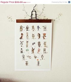 Sale Childrens Wall Art Print -ABC Animals Alphabet  Poster, German