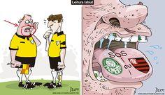 Charge do Dum (Zona do Agrião) sobre leitura labial no Brasileirão (18/10/2016) #Charge #Brasileirão #CampeonatoBrasileiro #Arbitro #Arbitragem #Juiz #HojeEmDia