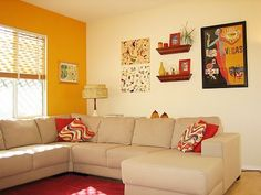 – Kelly's Orange You A Happy Family Room Living Room Orange, Colourful Living Room, Indian Living Rooms, Colorful Rooms, Interior Wall Colors, Bedroom Wall Colors, Home Room Design, Living Room Designs, Living Room Decor