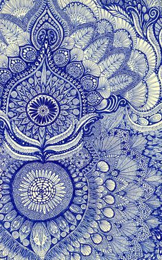 Simply-Boho blue pattern paisley zentangle