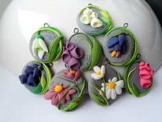 ~Polymer clay flower pendants~