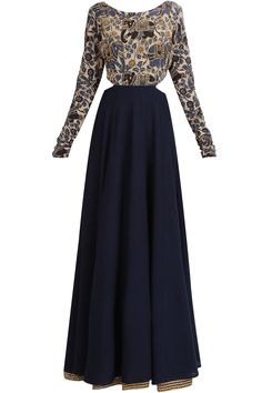 Blue kalamkari embroidered cutout kalidaar kurta and skirt set available only at Pernia's Pop Up Shop.