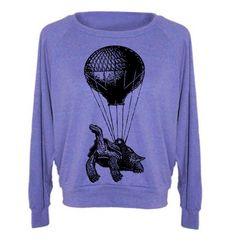 Hot Air Balloon Sweatshirt Lightweight Pullover Turtle Sweater Ladies Steampunk Flying Balloon Gifts For Her Turtle Sweatshirt by lastearth on Etsy https://www.etsy.com/listing/105033116/hot-air-balloon-sweatshirt-lightweight