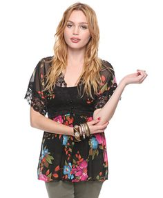 Floral Kimono Top - A sheer kimono-style top with front and back V-neck, lace trim, and an oversized floral print. Self-tie accent at back neck. $17.80