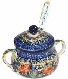 "Polish pottery sugar bowl in ""unikat"" pattern"