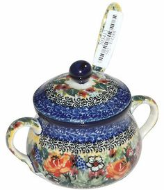"Polish pottery sugar bowl in ""unikat"" pattern"