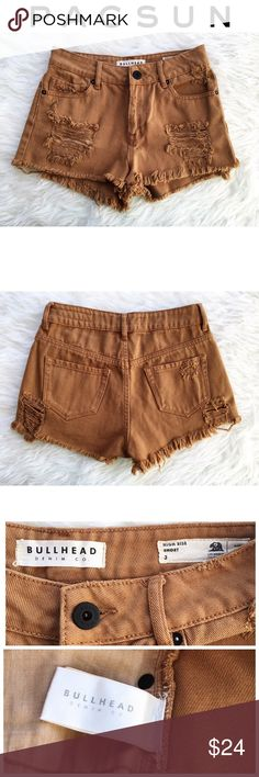 Pacsun Bullhead Denim Co. High Waisted Shorts Pacsun Bullhead Denim Co. High Rise Cutoff Denim Shorts. Distressed denim, frayed hem, and a deep tan/camel brown wash. Perfect for summer! ☀️ Never worn. Looks like new! PacSun Shorts Jean Shorts