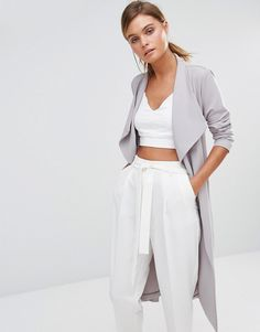 layer a crop top matching set with a waterfall duster for a chic spring outfit