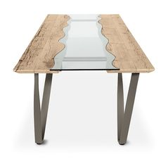 Rio Curly is a unique fixed dining table by Sedit, boasting a wooden rectangular table top with a combination of extra-clear tempered glass or ecomalta