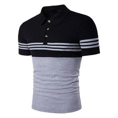Cottory Men's Fashion Stripe Contrast Color Short Sleeve Polo T Shirt Polo Shirt Brands, Mens Polo T Shirts, Slim Fit Polo Shirts, Golf Shirts, Polo Jeans, Camisa Polo, Xl Shirt, Sport T Shirt, Hipster Shirts