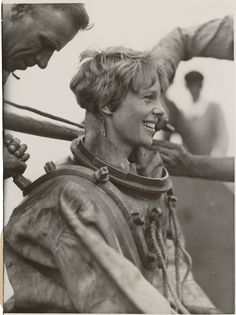 Amelia Earhart emerges after deep sea diving off Block Island on July 25, 1929.