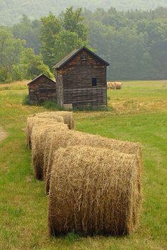 Natural wood barn with hay bales