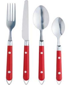 ColourMatch 24 Piece Hanging Cutlery Set - Poppy Red. Cutlery Set, Apartment Furniture, Red Poppies, Dinnerware, New Homes, Poppy Red, Tableware, Kitchen, House