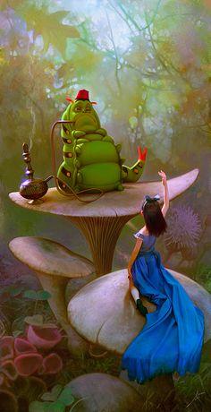 Neat Alice in Wonderland painting by #JoseManuelFernandezOli The caterpillar looks so cool!