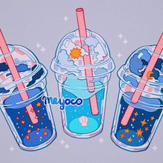 Celestial latte 🌟 Kawaii Wallpaper, Cute Wallpaper Backgrounds, Cute Cartoon Wallpapers, Aesthetic Drawing, Aesthetic Art, Aesthetic Anime, Cute Food Drawings, Cute Kawaii Drawings, Arte Do Kawaii