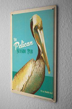 Tin Sign Bird Species  pelican Metal Plate