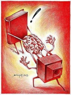Fight pseudo: books or television / Pelea pseudointelectual: libros o televisión (ilustración de Brunóf) Caricatures, Pierre Bourdieu, Pictures With Deep Meaning, Satirical Illustrations, Meaningful Pictures, Deep Art, Social Art, I Love Books, Book Lovers