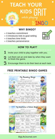 teach your kids grit while playing bingo games together - free printable for kids