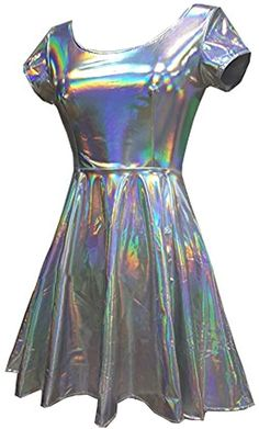 Cyber Holographic Dress  PRE ORDER Silver Cute Kawaii Goth Silver Shiny Party