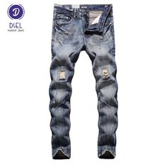 Italian Style Fashion Mens Jeans DSEL Brand Destroyed Ripped Jeans Men Pants Slim Fit Denim Street Youth Biker Jeans Knee Hole #Affiliate
