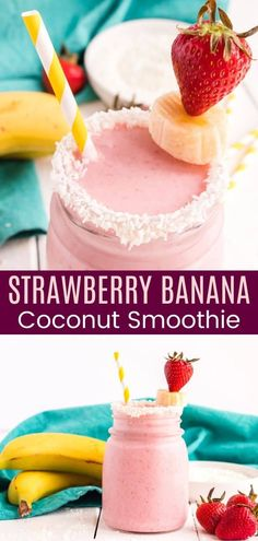 Strawberry Banana Smoothie with Coconut Milk - a rich and creamy smoothie that makes a satisfying breakfast or snack! You won't believe you only need three ingredients, and it's gluten free and dairy free! Coconut Milk Smoothie, Smoothies With Almond Milk, Strawberry Banana Smoothie, Banana Coconut, Green Smoothies, Fruit Recipes, Snack Recipes, Dessert Recipes, Brunch Recipes