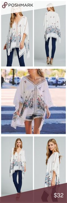 Kimono Poncho Style Top With Floral And Lace Trim Kimono poncho style top has a beige background with a floral print and open lace around all edges. Light and cool. EVIEcarche Tops