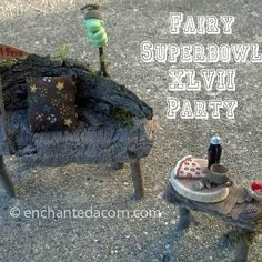 Fairy garden super bowl scene from a few years back! Fairy Garden Furniture, Miniature Fairy Gardens, Wishing Well, Super Bowl, Fairies, Miniatures, Scene, Outdoor Decor, Faeries
