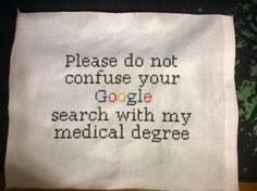 Cross stitch gift to a medical student - Imgur