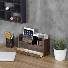 Desktop Storage, Desktop Organization, Pen Storage, Storage Spaces, Coffee Brown Color, Letter Sorter, Wooden Desk Organizer, File Organiser, Organize Mail