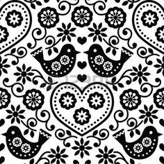 35997017-folk-art-seamless-monochrome-pattern-with-flowers-and-birds.jpg (350×350)