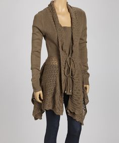 Brown Sidetail Tie Cardigan | Daily deals for moms, babies and kids