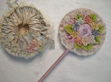 VINTAGE HAND MADE LACE AND RIBBON FLOWER MIRRORS
