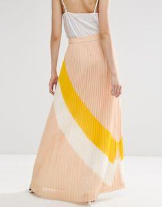 ASOS Pleat Maxi Skirt with Abstract Colourblock