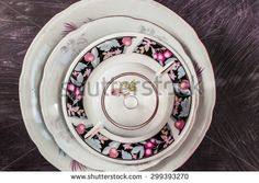 Rounds from dishes - stock photo