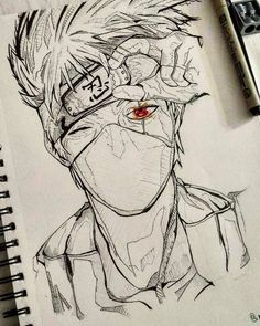 Kakashi Drawing, Naruto Sketch Drawing, Naruto Drawings, Anime Drawings Sketches, Anime Sketch, Manga Drawing, Manga Art, People Drawings, Learn Drawing
