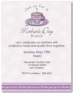 Invitations For MotherS Day  Invitation Templates Template And