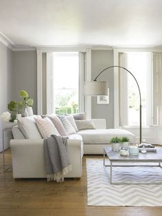 Having small living room can be one of all your problem about decoration home. To solve that, you will create the illusion of a larger space and painting your small living room with bright colors c… Cozy Living Rooms, Living Room Grey, Home Living Room, Apartment Living, Living Room Designs, Living Spaces, Living Room Lamps, Coastal Living, Corner Sofa Living Room Layout