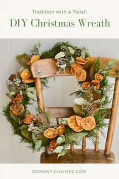 In decades past, a fresh orange in a Christmas stocking was both a rare treat and a Christmas tradition. This easy DIY wreath celebrates the custom with a twist. # Easy DIY wreath DIY Christmas Wreath with Dried Oranges and Florals - Romantic Homes Bohemian Christmas, Noel Christmas, Homemade Christmas, Rustic Christmas, Winter Christmas, Christmas Stockings, Xmas, Christmas Oranges, Orange Christmas Tree