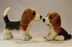 """ELENA LVOVA -- """"The family of Beagles"""" -- From August 2, 2012 blog.  (not all shown in this photo) were made by dry felting.  Handmade."""