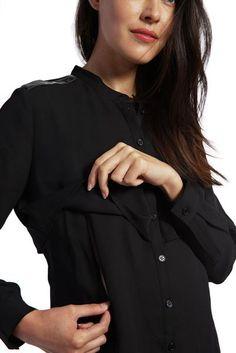 3cdc06a39d Jenni - Black Leather Detail nursing top Nursing Wear