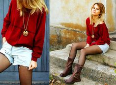 Burgundy Blouse, Denim Shorts