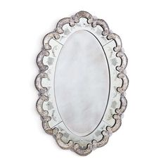 "A stunning mirror in a venetian style with hand etching, rosettes, and intricate design throughout. - Dimensions:30""L x 1.5""W x 40""H - Materials: Mirror - Finish: Antiqued Throughout This item typical"