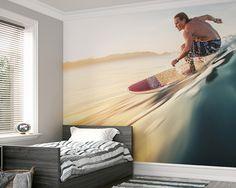 Wave Rider Wallpaper Mural   ohpopsi Bedroom Wallpaper Murals, Boys Wallpaper, Photo Wallpaper, Wall Murals, Sports Wallpapers, Awesome Bedrooms, Bedroom Decor, Waves, Tapestry
