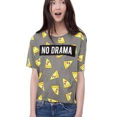 Pizza Print T-shirt Women Cute Cake NO DRAMA Letters short sleeve shirts casual
