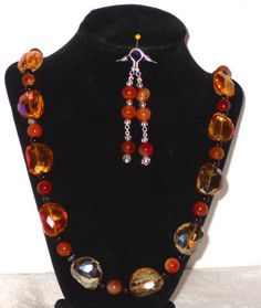 MEXICAN FIRE AGATE, BLACK ONYX, AND CRYSTAL NECKLACE AND EARRINGS 29 1/2 ''- 3'' #Handmade #StatementDROPDANGLE
