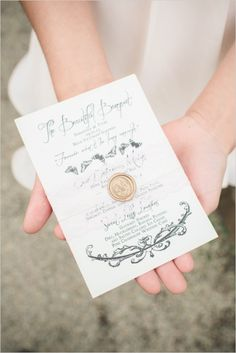 Elegant wedding menu and calligraphy. Stationery: Vintage Invites Stationery and Styling ---> http://www.weddingchicks.com/2014/05/08/shabby-chic-western-wedding/