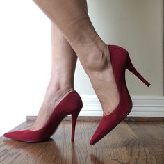 Red Suede Stuart Weitzman Pumps These fabulous dark red suede pumps will enhance your fall and winter wardrobe! Features include: pointed toe and 4.5 inch stiletto heel.  Size 8.5.  Brand new w/ tags and never worn.  In excellent condition. These are haute! Stuart Weitzman Shoes Heels