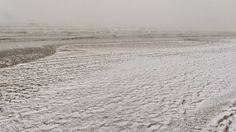 La spiaggia di Milano Marittima con la prima neve