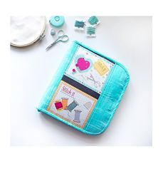 Turquoise floss zipper organizer for bobbin card hand | Etsy